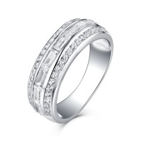 Emerald Cut White Sapphire 925 Sterling Silver Wedding Bands