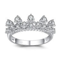 Crown Round Cut Gemstone 925 Sterling Silver Cocktail Ring