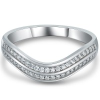 0.50CT Round Cut White Sapphire 925 Sterling Silver Women's Wedding Bands