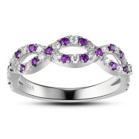 Amethyst Simple 925 Sterling Silver Women's Engagement Ring