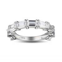Emerald Cut White Sapphire 925 Sterling Silver Women's Wedding Bands