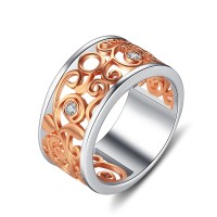 Round Cut White Sapphire Rose Gold 925 Sterling Silver Women's Wedding Bands