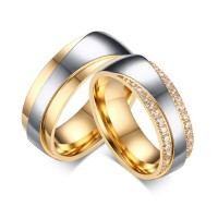 Gold and Silver Gemstone Titanium Steel Promise Ring for Couples