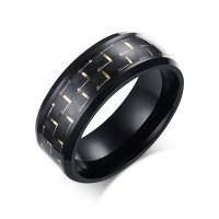 Gold Decoration Black Titanium Steel Men's Ring
