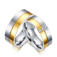 Titanium Steel Round Cut White Sapphire Silver Gold Promise Rings for Couples