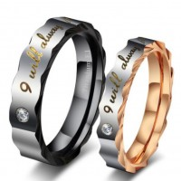 Black & Rose Gold Titanium Steel Promise Rings for Couples