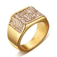 Titanium Round Cut White Sapphire Gold Men's Ring