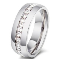 Titanium Round Cut White Sapphire Silver Promise Rings For Her