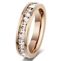 Titanium Princess Cut White Sapphire Rose Gold Promise Rings For Her