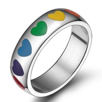 Titanium Colorful Heart Silver Promise Rings For Her