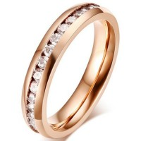 Titanium Round Cut White Sapphire Rose Gold Promise Rings For Her
