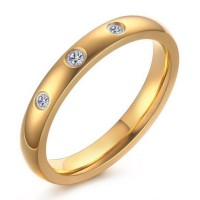 Titanium Round Cut White Sapphire Gold Promise Rings For Her