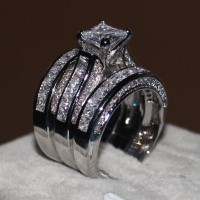 Princess Cut White Gold Plated 3 Piece Bridal Sets