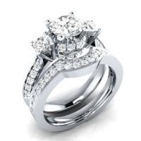 Round Cut White Sapphire 3-Stone Bridal Sets