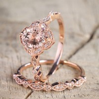 Round Cut Pink Sapphire Halo Rose Gold Bridal Sets