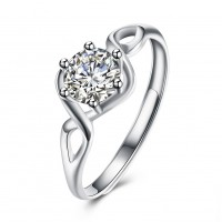 Round Cut White Sapphire Shining S925 Silver Engagement Rings