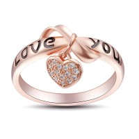 Bowknot Design Love You 925 Sterling Silver Women's Ring