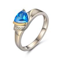 Trillion Cut Aquamarine 925 Sterling Silver Birthstone Rings