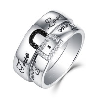 """True Love"" Lock White and Black Sapphire s925 Silver Couple Rings"
