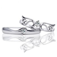Angel Wing Round Cut White Sapphire 925 Sterling Silver Couple Rings