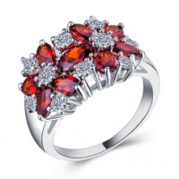 Ruby & White Sapphire Promise Rings For Her