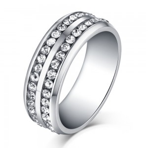 Round Cut White Sapphire Silver Titanium Steel Men's Ring