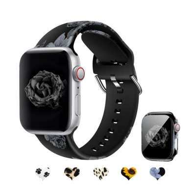 Sport Floral Silicone Printed Fadeless Pattern Band Compatible with Apple Watch Bands for iWatch Series 6/5/4/3/2/1/SE