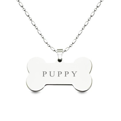 Titanium Steel Bone Shaped Engraved Pet Name ID Tag Pendant