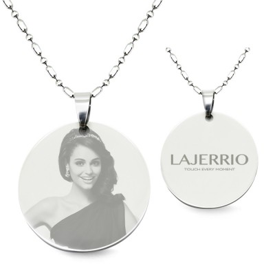 Titanium Steel Personalized Photo Engraved Round Shape Pendant Necklace