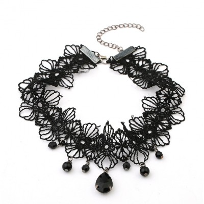 Black Flower Lace Choker Beads Chain Rose Decorate