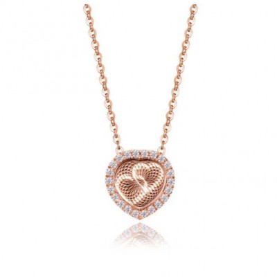 Rose Gold Heart to Heart S925 Silver Necklace