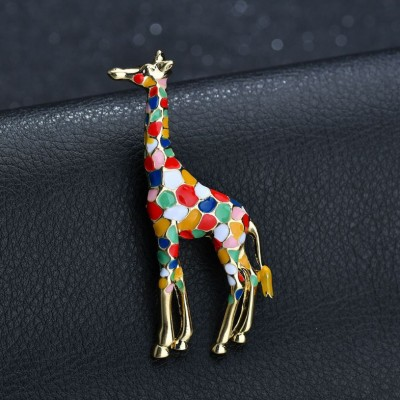 Colorful Giraffe Single Needle Brooch