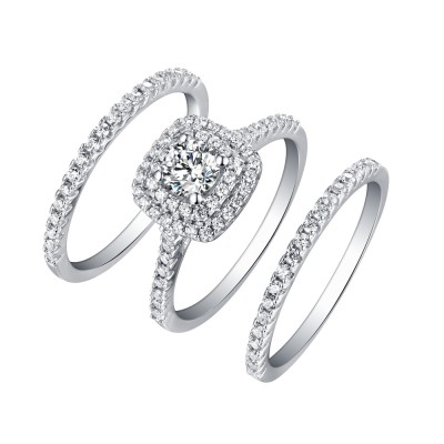 Round Cut White Shire 3 Piece 925 Sterling Silver Halo Ring Sets