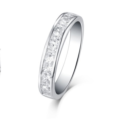 Princess Cut White Sapphire 925 Sterling Silver Stackable Wedding Band