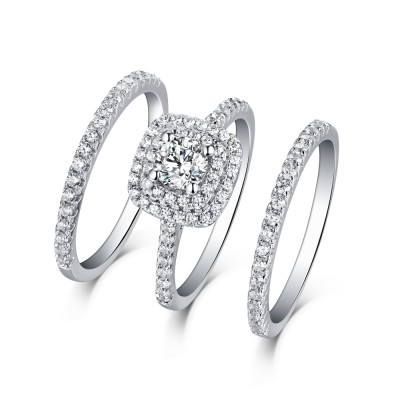Round Cut White Sapphire 3 Piece 925 Sterling Silver Halo Ring Sets