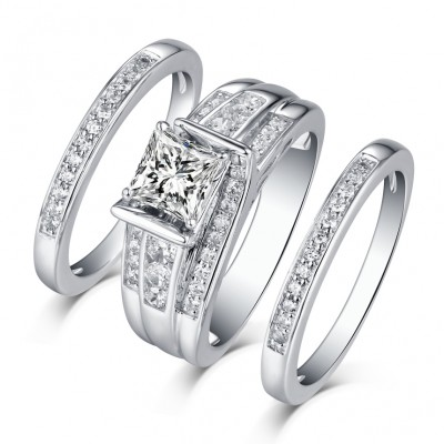 Princess Cut 925 Sterling Silver White Shire 3 Piece Ring Sets