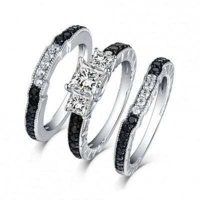 Cushion Cut Black and White Sapphire S925 Silver 3-Stone 3 Piece Ring Sets