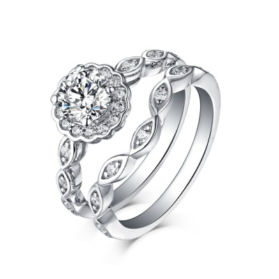 Round Cut 925 Sterling Silver White Sapphire Halo Ring Sets