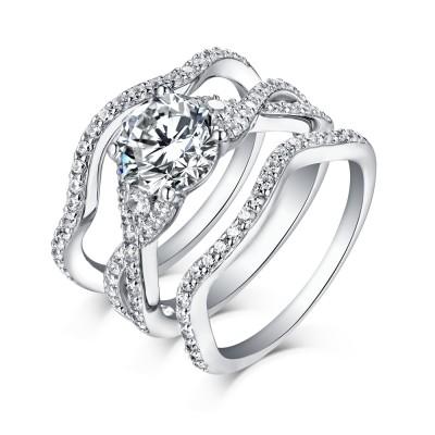 3 Piece Wedding Ring Sets | 3 Piece Bridal Set Trio Wedding Sets Lajerrio Jewelry
