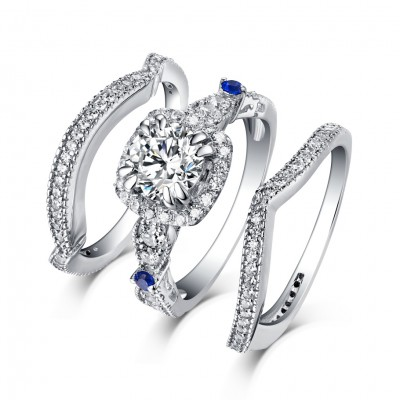 Round Cut S925 Silver White Sapphire 3 Piece Halo Ring Sets