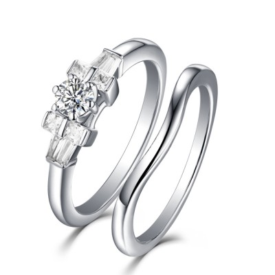Round Cut White Sapphire 925 Sterling Silver Ring Sets
