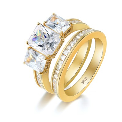 Three Stone Emerald Cut Gold Sterling Silver Bridal Sets