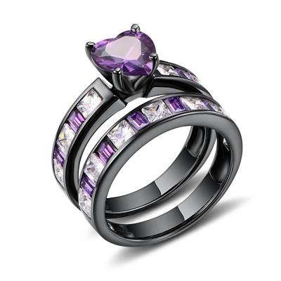 Amethyst Wedding Ring Sets Lajerrio Jewelry