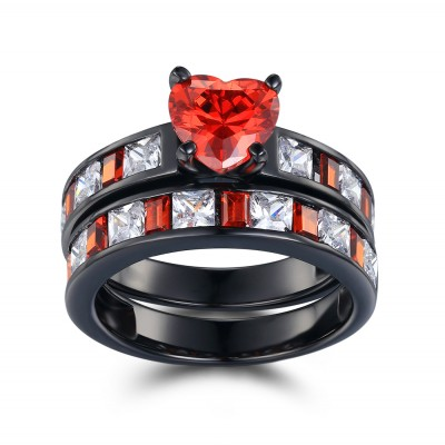 Heart Cut Ruby Black 925 Sterling Silver Bridal Sets
