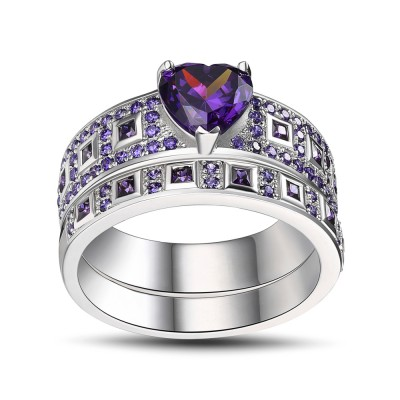 Heart Cut Amethyst Sterling Silver Bridal Sets