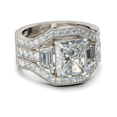 Luxury Emerald Cut White Sapphire 925 Sterling Silver Bridal Sets