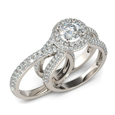 Fab Round Cut White Sapphire Sterling Silver Bridal Sets