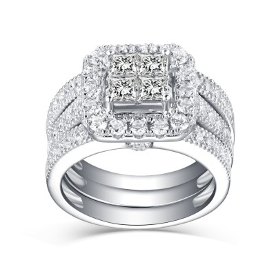 bef6f825206ae1 Women's Princess Cut White Sapphire 925 Sterling Silver Bridal Sets ...