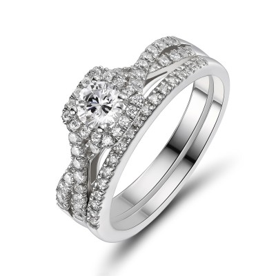 Women's Round Cut White Sapphire 925 Sterling Silver Bridal Sets