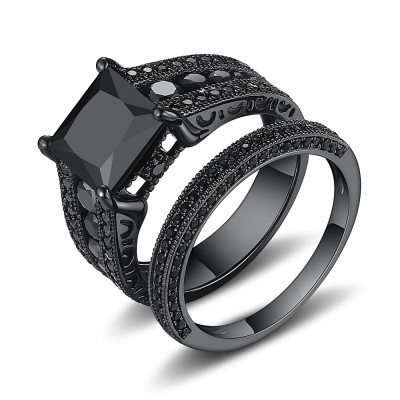 Black Princess Cut 925 Sterling Silver Bridal Sets